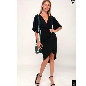 Lulus Dulcet Washed Black Surplus Midi Dress
